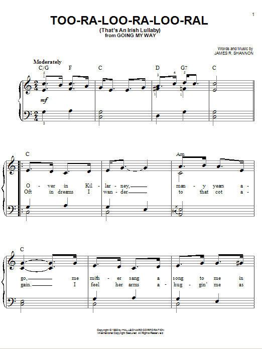 Too-Ra-Loo-Ra-Loo-Ral (That's An Irish Lullaby) Sheet Music