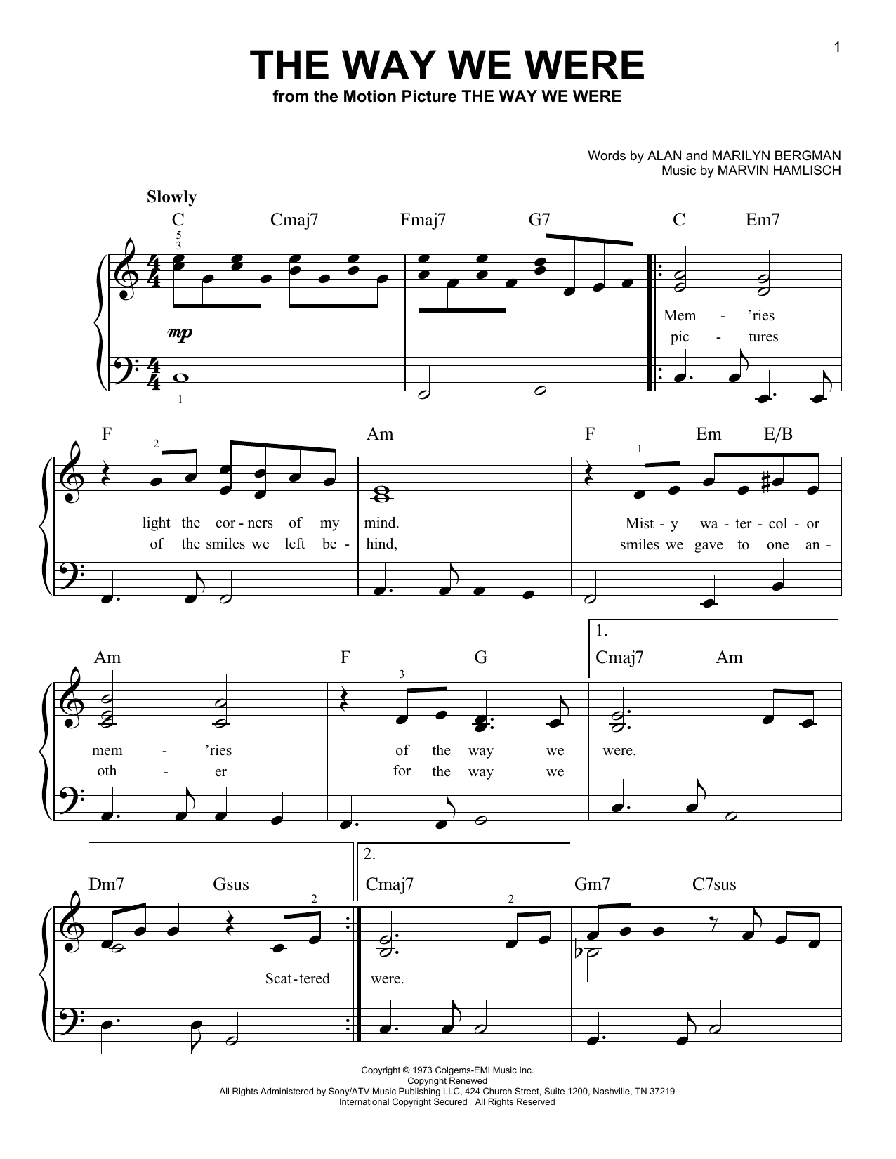 The Way We Were Sheet Music