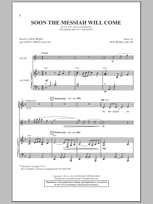Soon The Messiah Will Come Sheet Music