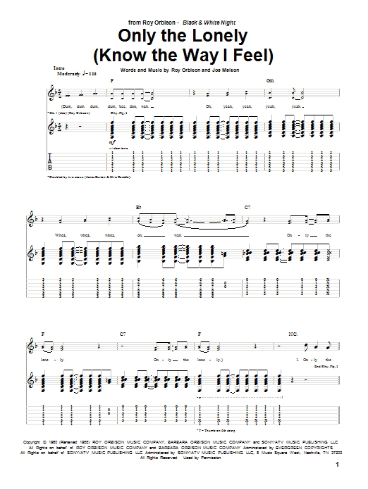 Tablature guitare Only The Lonely (Know The Way I Feel) de Roy Orbison - Tablature Guitare
