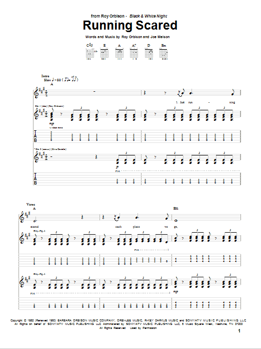 Tablature guitare Running Scared de Roy Orbison - Tablature Guitare