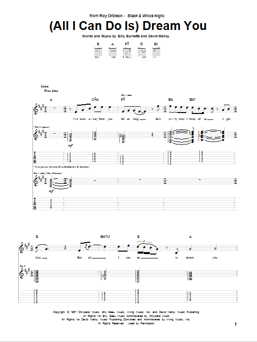 Tablature guitare (All I Can Do Is) Dream You de Roy Orbison - Tablature Guitare