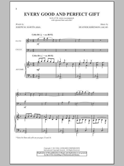 Partition chorale Every Good And Perfect Gift de Heather Sorenson - SATB