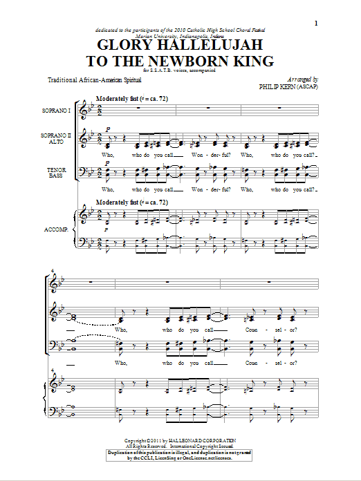 Glory Hallelujah To The Newborn King (arr. Philip Kern) Sheet Music