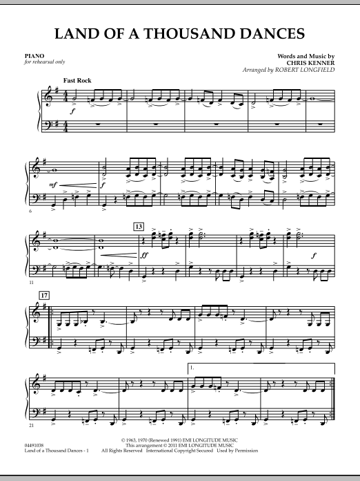 Land Of A Thousand Dances - Piano (Orchestra)