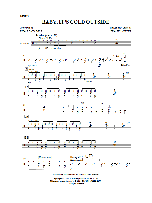 Baby, It's Cold Outside - Drum (Opt. Set) (Choir Instrumental Pak)