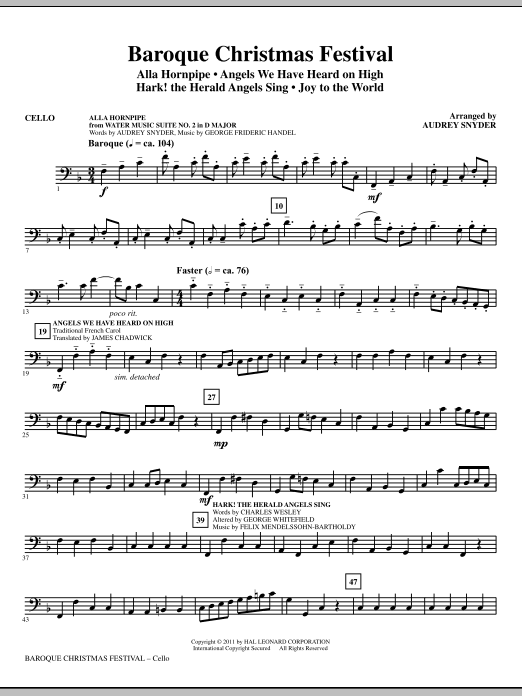 Baroque Christmas Festival (Medley) - Cello (Choir Instrumental Pak)