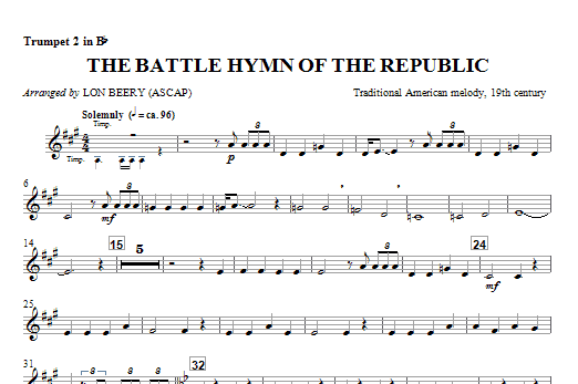 Battle Hymn Of The Republic - Trumpet 2 Sheet Music