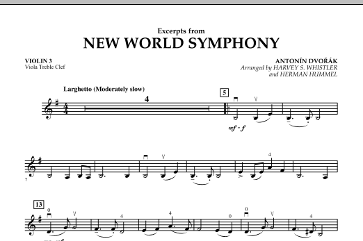 Excerpts from New World Symphony - Violin 3 (Viola Treble Clef) (Orchestra)
