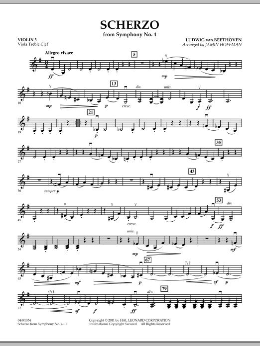 Scherzo from Symphony No. 4 - Violin 3 (Viola Treble Clef) (Orchestra)