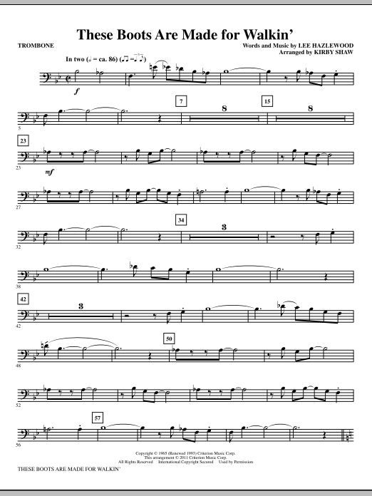 These Boots Are Made For Walkin' - Trombone Sheet Music