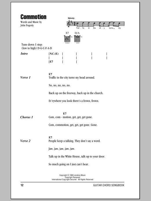 Commotion Sheet Music