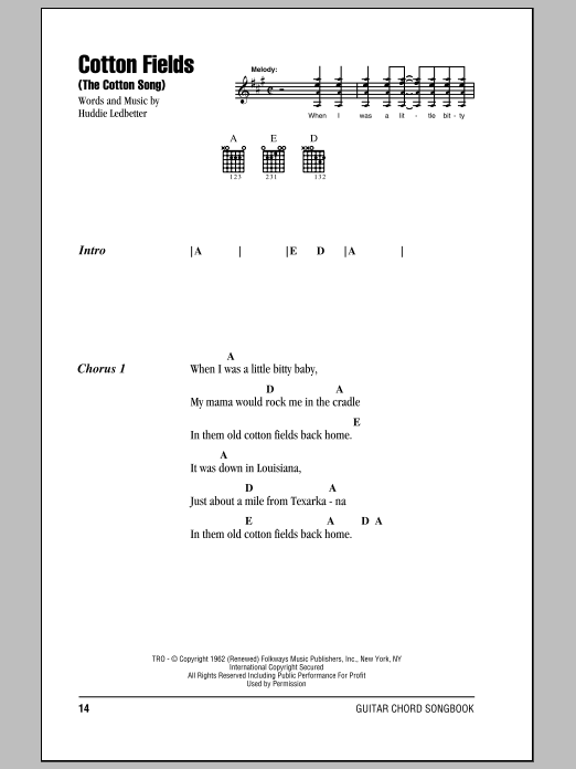 Cotton Fields (The Cotton Song) (Guitar Chords/Lyrics)
