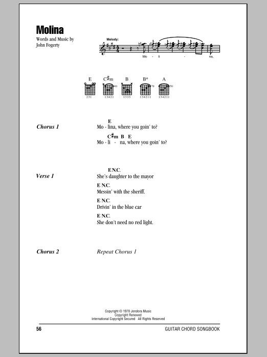 Molina (Guitar Chords/Lyrics)