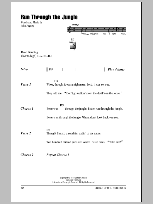Run Through The Jungle Sheet Music
