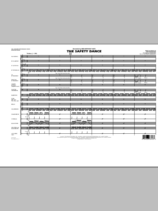 The Safety Dance (COMPLETE) sheet music for marching band by Jay Bocook, Glee Cast, Ivan Doroschuk and Miscellaneous. Score Image Preview.