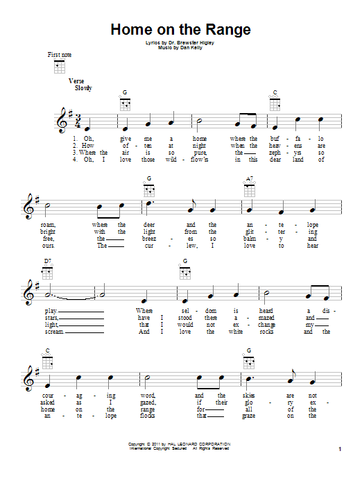 Tablature guitare Home On The Range de Roy Rogers - Ukulele