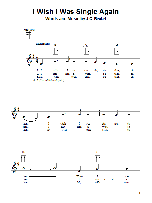 Tablature guitare I Wish I Were Single Again de J.C. Beckel - Ukulele