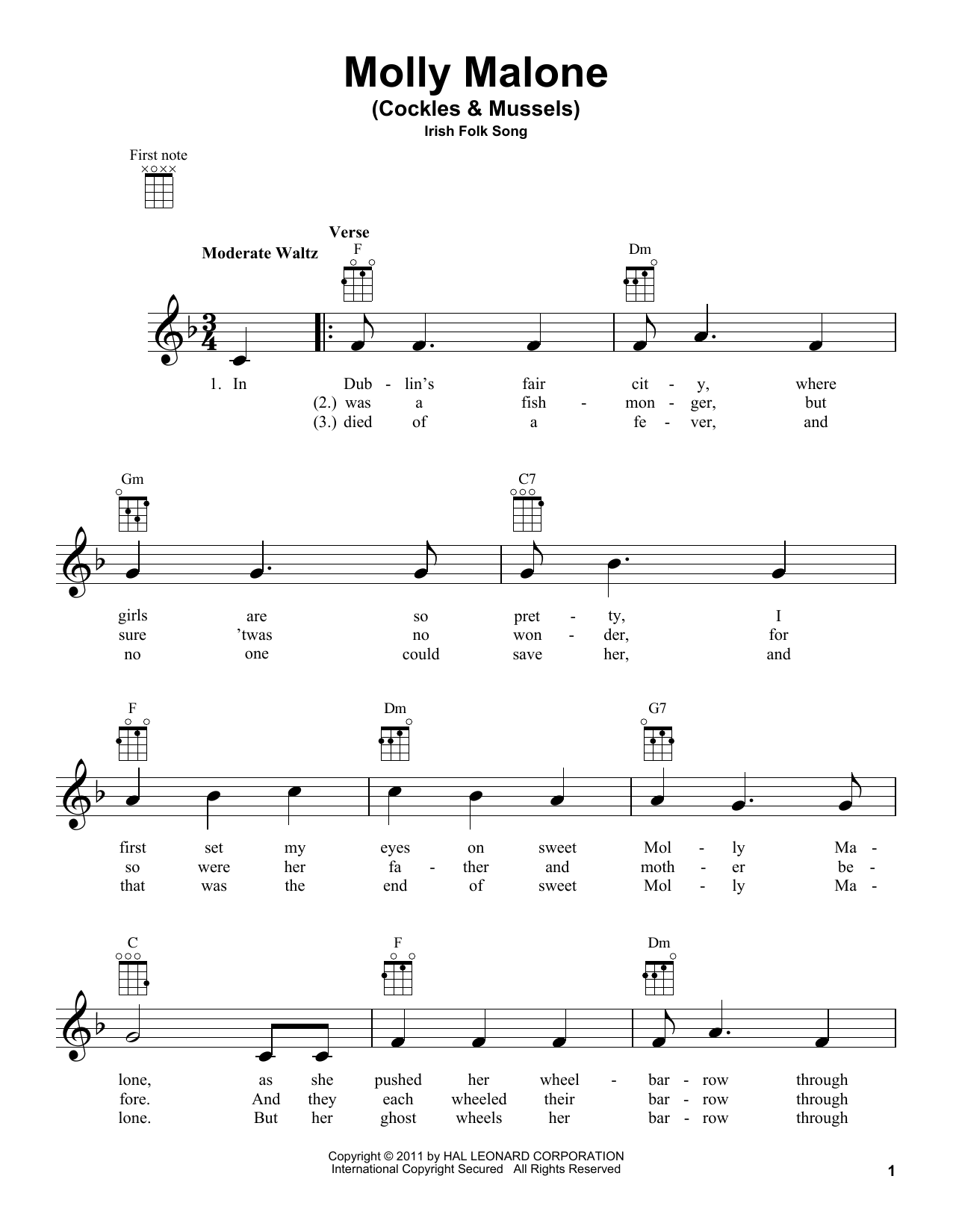 Tablature guitare Molly Malone (Cockles & Mussels) de Irish Folksong - Ukulele