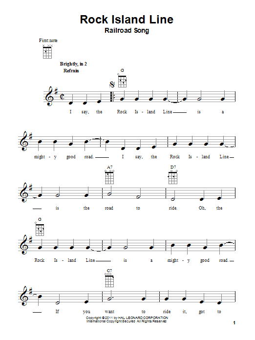 Tablature guitare Rock Island Line de Railroad Song - Ukulele