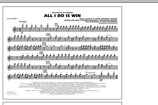 All I Do Is Win - Flute/Piccolo (Marching Band)