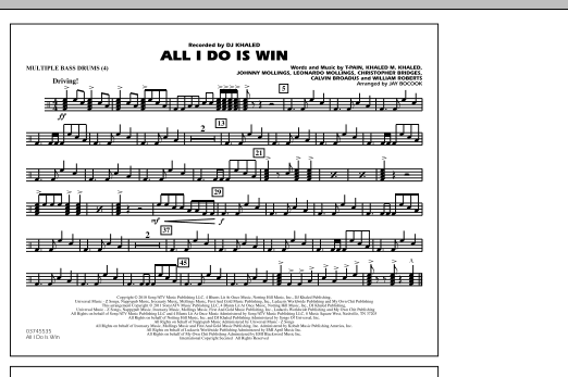 All I Do Is Win Multiple Bass Drums Sheet Music To Download