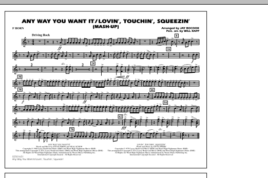 Any Way You Want It / Lovin', Touchin', Squeezin' (Mash-Up) - F Horn (Marching Band)