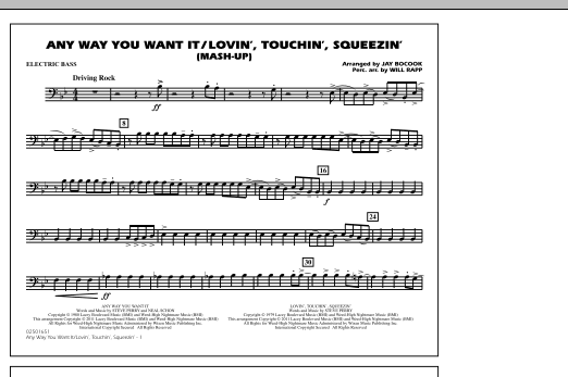 Any Way You Want It / Lovin', Touchin', Squeezin' (Mash-Up) - Electric Bass (Marching Band)