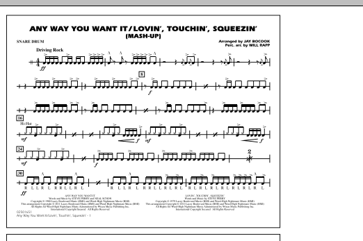 Any Way You Want It / Lovin', Touchin', Squeezin' (Mash-Up) - Snare Drum (Marching Band)