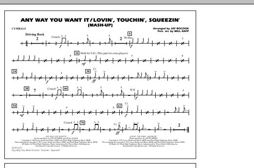 Any Way You Want It / Lovin', Touchin', Squeezin' (Mash-Up) - Cymbals (Marching Band)