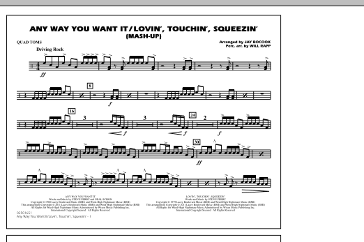 Any Way You Want It / Lovin', Touchin', Squeezin' (Mash-Up) - Quad Toms (Marching Band)