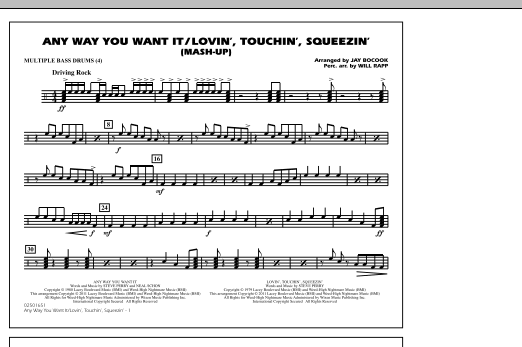 Any Way You Want It / Lovin', Touchin', Squeezin' (Mash-Up) - Multiple Bass Drums (Marching Band)