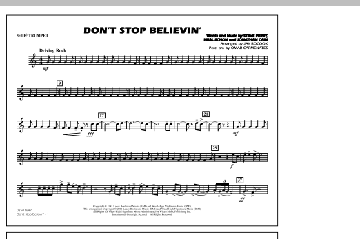 Don't Stop Believin' - 3rd Bb Trumpet (Marching Band)