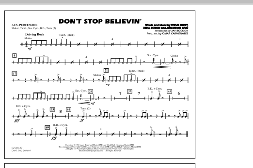 Don't Stop Believin' - Aux Percussion (Marching Band)