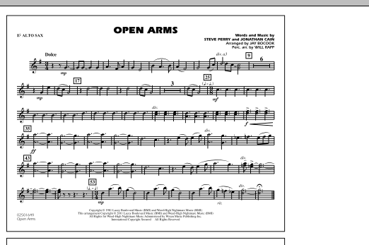 Open Arms - Eb Alto Sax (Marching Band)