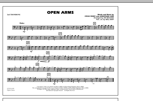 Open Arms - 2nd Trombone (Marching Band)