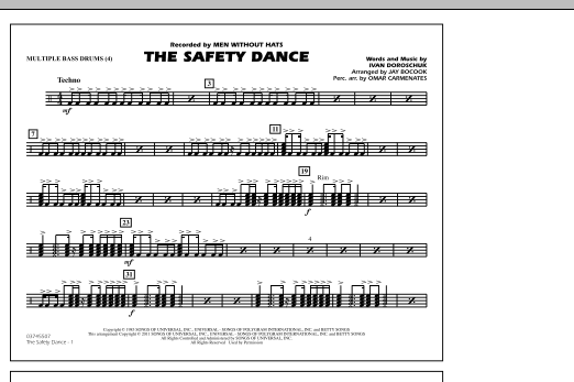 The Safety Dance - Multiple Bass Drums (Marching Band)