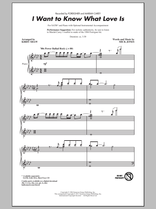 I Want To Know What Love Is (SATB Choir)