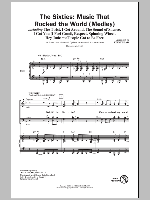 Partition chorale Music That Rocked The World de The Sixties - SATB