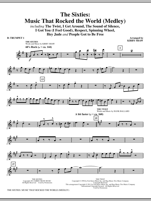 The Sixties: Music That Rocked The World (complete set of parts) sheet music for orchestra/band (chamber ensemble) by Kirby Shaw. Score Image Preview.