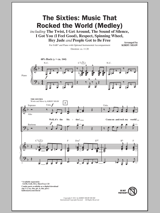 The 60s - Music That Rocked The World (Medley) Sheet Music