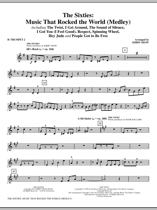 The Sixties: Music That Rocked The World - Bb Trumpet 2 (Choir Instrumental Pak)