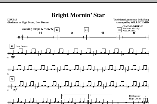 Bright Mornin' Star - Drums Sheet Music