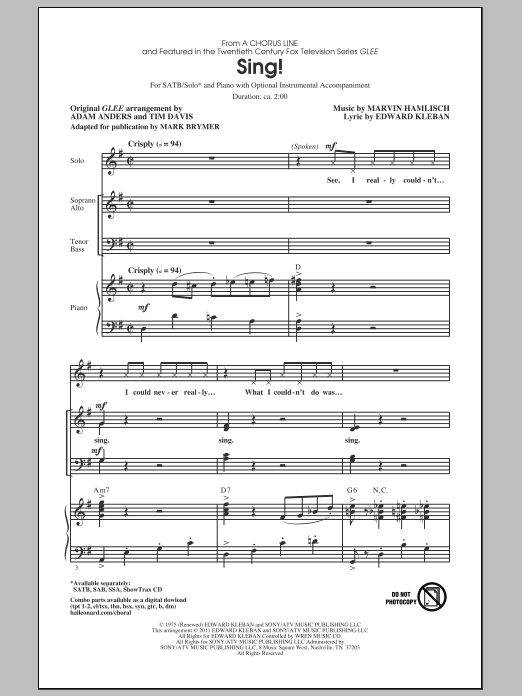 Sing! (from A Chorus Line) (arr. Mark Brymer) (SATB Choir)