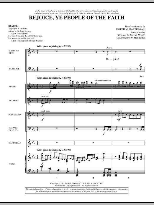 Rejoice, Ye People Of The Faith (complete set of parts) sheet music for orchestra/band (Special) by Joseph M. Martin. Score Image Preview.