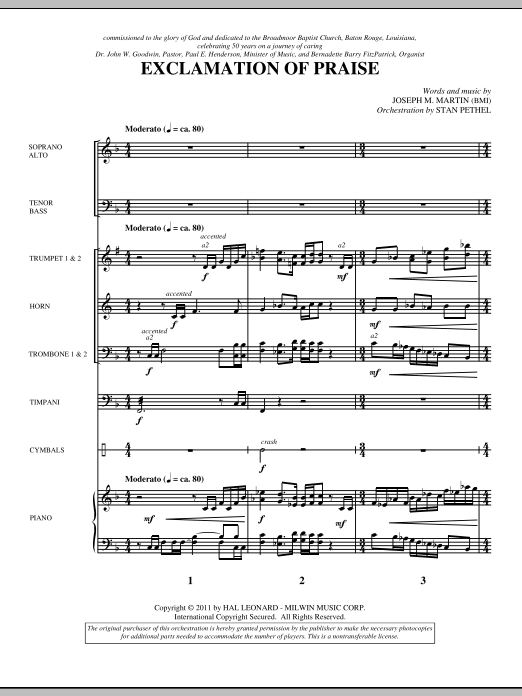 Exclamation Of Praise (complete set of parts) sheet music for orchestra/band (Brass) by Joseph Martin and Joseph M. Martin. Score Image Preview.