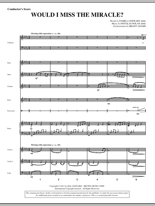 Would I Miss The Miracle? (complete set of parts) sheet music for orchestra/band (Orchestra) by Pamela Stewart and Douglas Nolan. Score Image Preview.