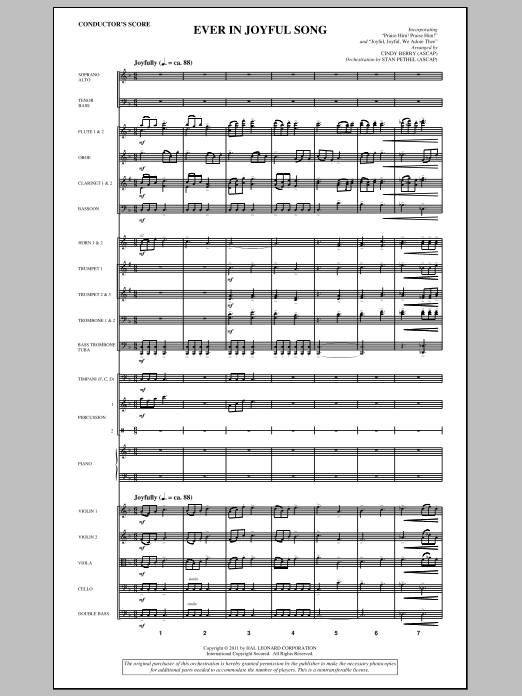 Ever In Joyful Song (complete set of parts) sheet music for orchestra/band (Orchestra) by Cindy Berry and Stan Pethel. Score Image Preview.