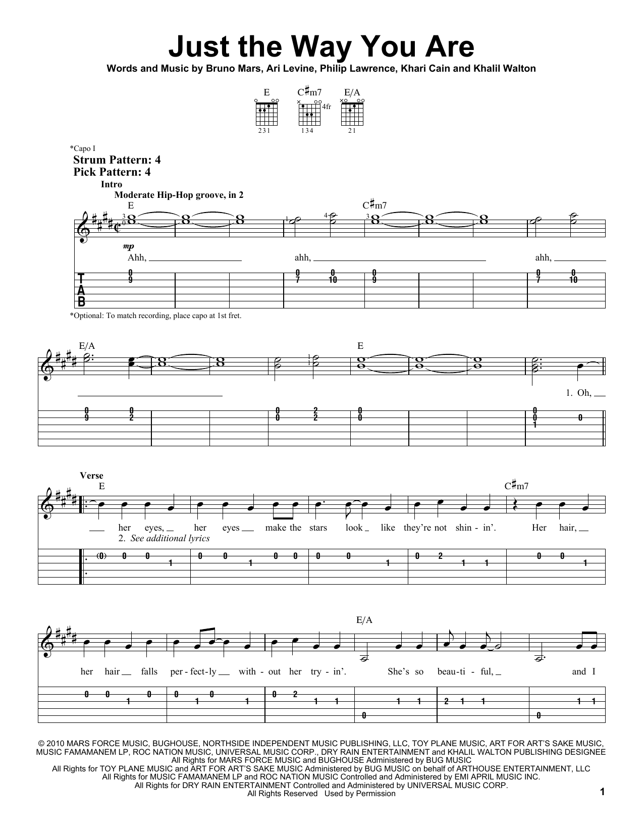 Tablature guitare Just The Way You Are de Bruno Mars - Tablature guitare facile