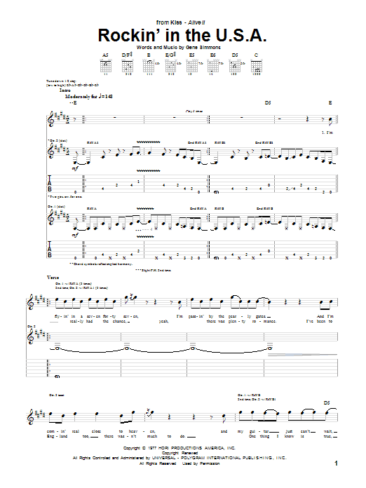 Rockin' In The U.S.A. Sheet Music